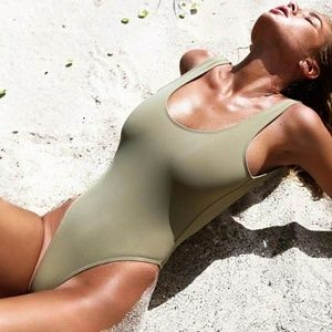Other - Olive Green Backless One Piece Swimsuit